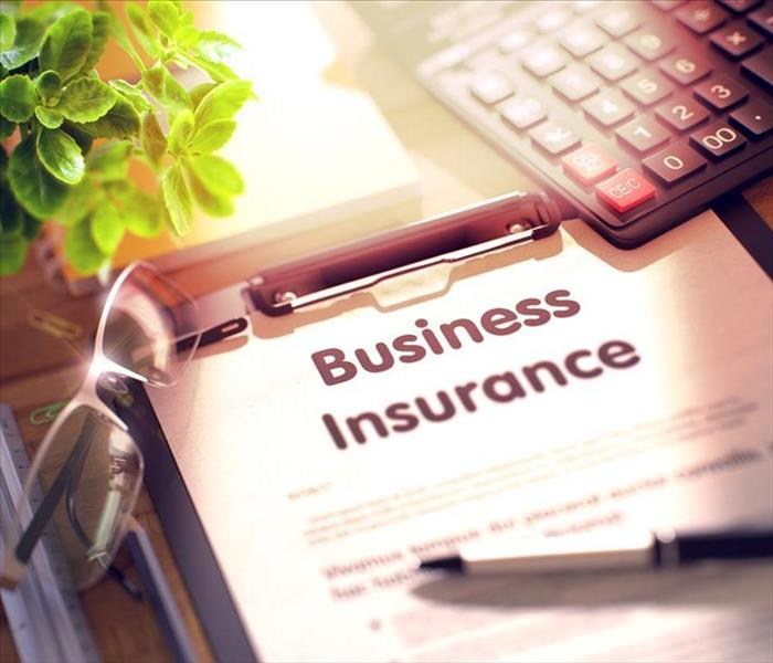 Business Insurance. Business Concept on Clipboard. Composition with Clipboard, Calculator, Glasses, Green Flower and Office